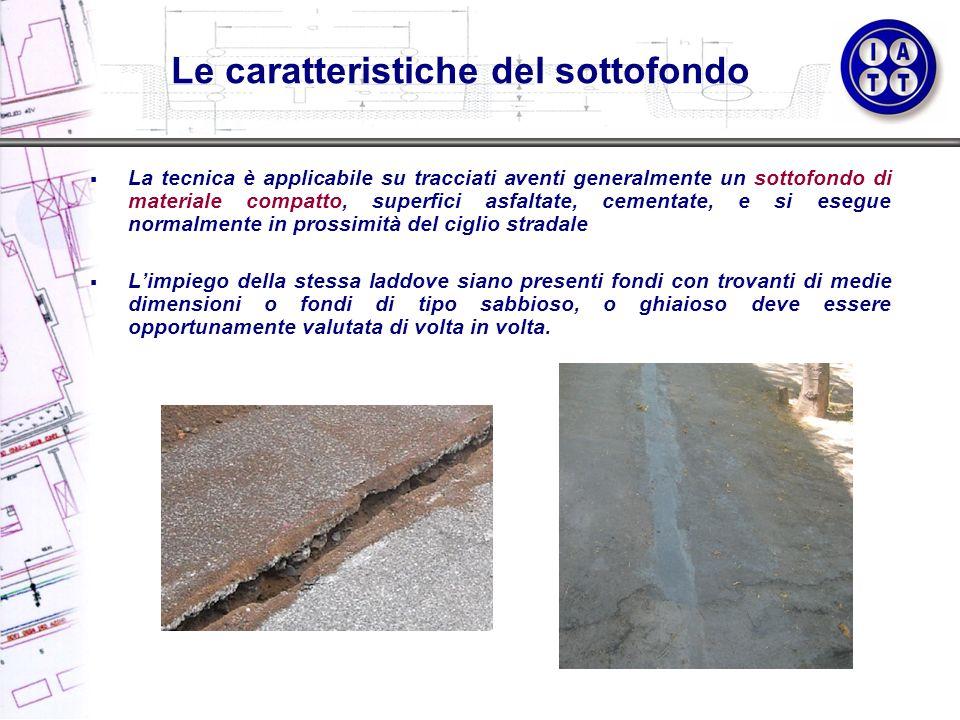 La tecnica è applicabile su tracciati aventi generalmente un sottofondo di materiale compatto, superfici asfaltate, cementate, e si esegue normalmente