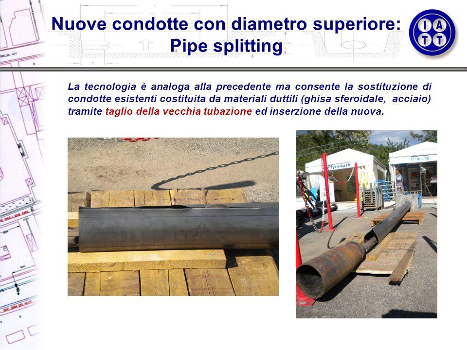 Nuove condotte con diametro superiore: Pipe splitting La tecnologia è analoga alla precedente ma consente la sostituzione di condotte esistenti costit
