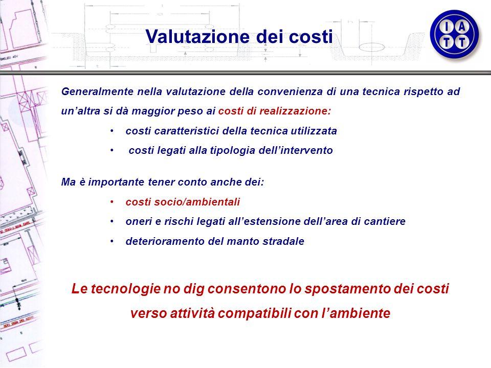 Valutazione dei costi Generalmente nella valutazione della convenienza di una tecnica rispetto ad unaltra si dà maggior peso ai costi di realizzazione