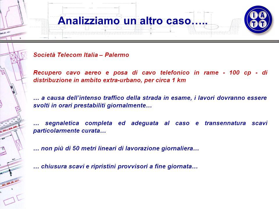 Società Telecom Italia – Palermo Recupero cavo aereo e posa di cavo telefonico in rame - 100 cp - di distribuzione in ambito extra-urbano, per circa 1