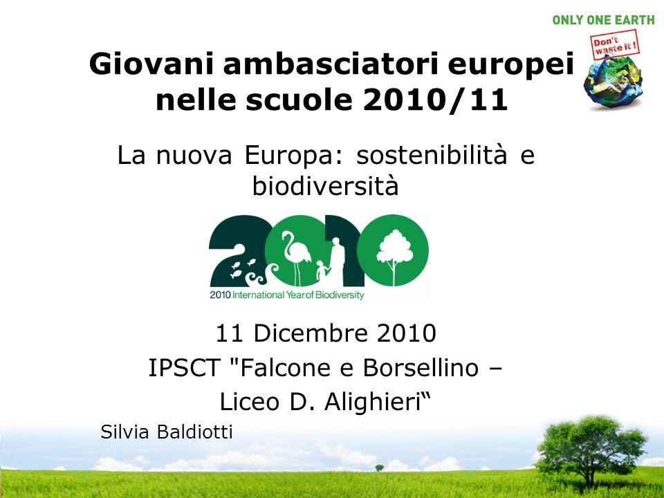 Giovani ambasciatori europei nelle scuole 2010/11 La nuova Europa: sostenibilità e biodiversità 11 Dicembre 2010 IPSCT Falcone e Borsellino – Liceo D.