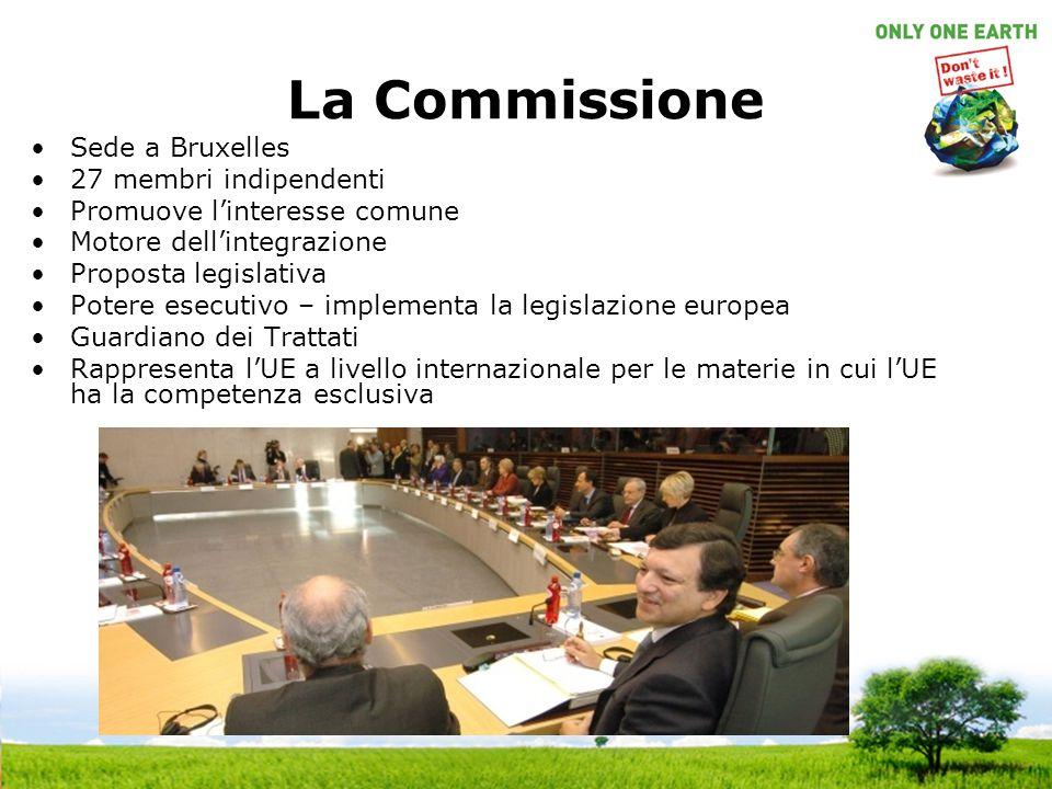 La Commissione Sede a Bruxelles 27 membri indipendenti Promuove linteresse comune Motore dellintegrazione Proposta legislativa Potere esecutivo – implementa la legislazione europea Guardiano dei Trattati Rappresenta lUE a livello internazionale per le materie in cui lUE ha la competenza esclusiva