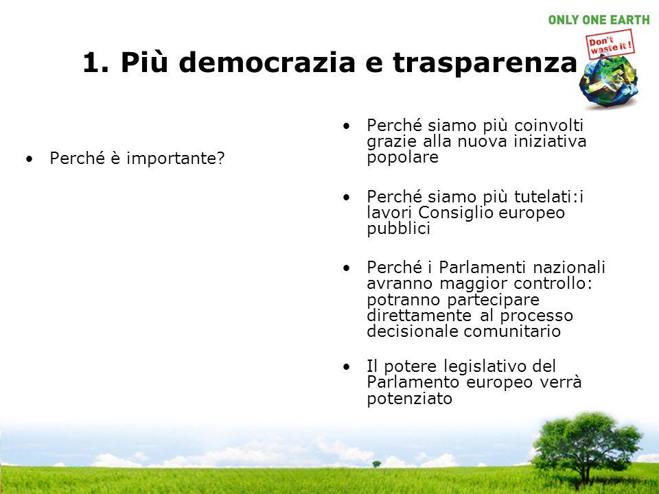 1. Più democrazia e trasparenza Perché è importante.
