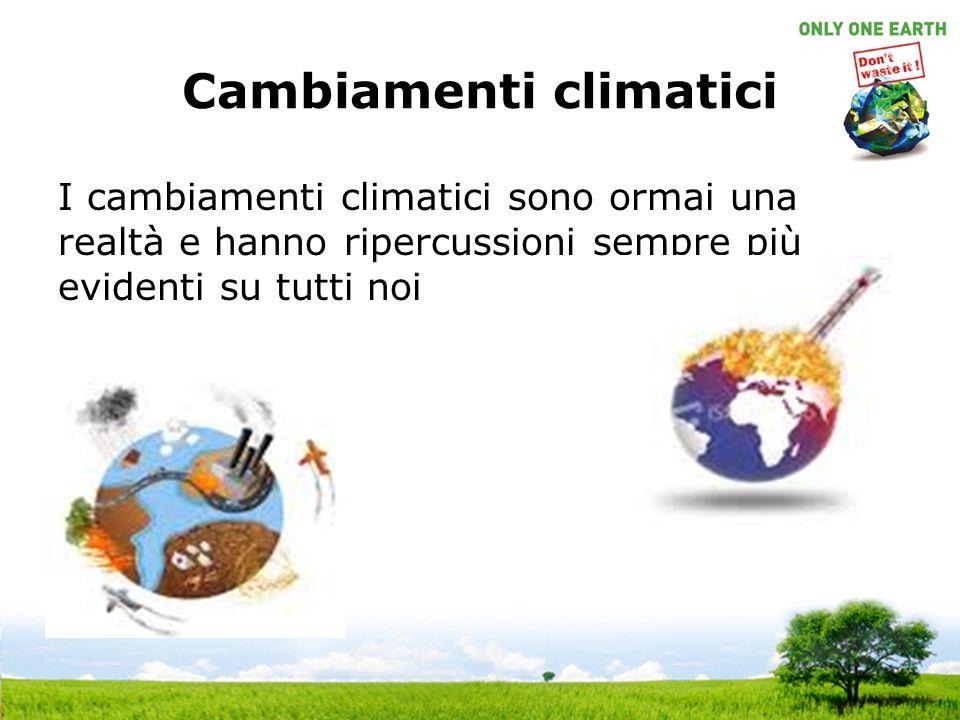 Cambiamenti climatici I cambiamenti climatici sono ormai una realtà e hanno ripercussioni sempre più evidenti su tutti noi