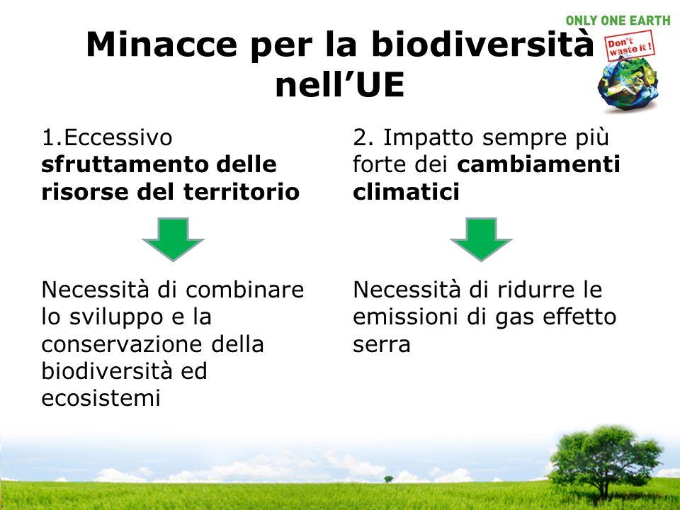 Minacce per la biodiversità nellUE 1.Eccessivo sfruttamento delle risorse del territorio Necessità di combinare lo sviluppo e la conservazione della biodiversità ed ecosistemi 2.