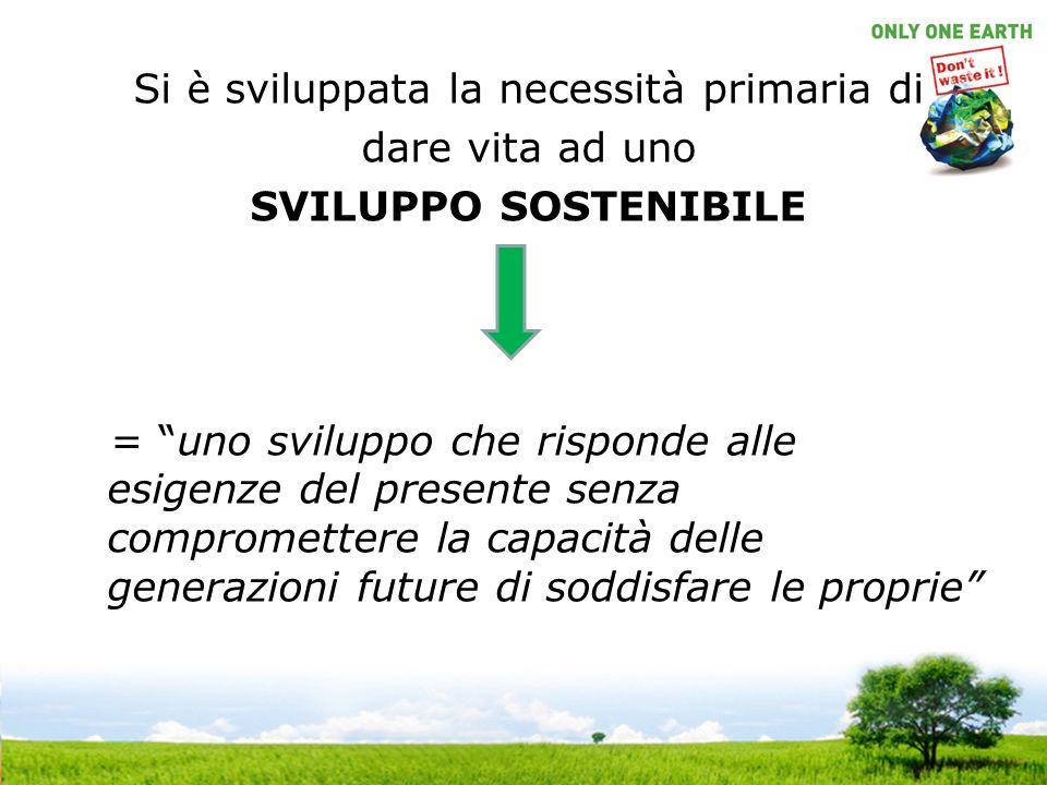 Si è sviluppata la necessità primaria di dare vita ad uno SVILUPPO SOSTENIBILE = uno sviluppo che risponde alle esigenze del presente senza compromettere la capacità delle generazioni future di soddisfare le proprie