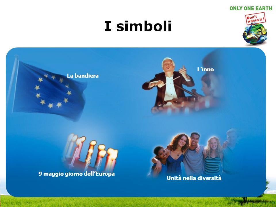 I simboli La bandiera Linno 9 maggio giorno dellEuropa Unità nella diversità