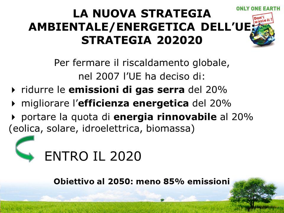 LA NUOVA STRATEGIA AMBIENTALE/ENERGETICA DELLUE: STRATEGIA 202020 Per fermare il riscaldamento globale, nel 2007 lUE ha deciso di: ridurre le emissioni di gas serra del 20% migliorare lefficienza energetica del 20% portare la quota di energia rinnovabile al 20% (eolica, solare, idroelettrica, biomassa) ENTRO IL 2020 Obiettivo al 2050: meno 85% emissioni