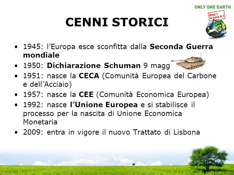CENNI STORICI 1945: lEuropa esce sconfitta dalla Seconda Guerra mondiale 1950: Dichiarazione Schuman 9 maggio 1951: nasce la CECA (Comunità Europea del Carbone e dellAcciaio) 1957: nasce la CEE (Comunità Economica Europea) 1992: nasce lUnione Europea e si stabilisce il processo per la nascita di Unione Economica Monetaria 2009: entra in vigore il nuovo Trattato di Lisbona