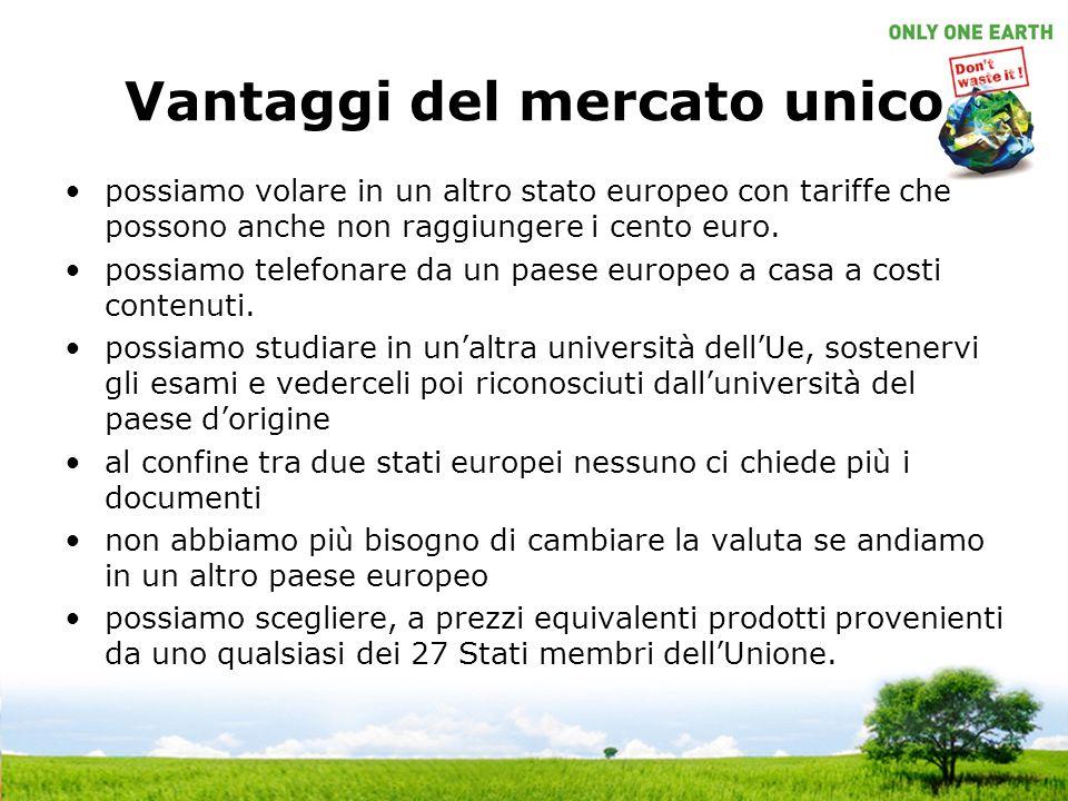 Vantaggi del mercato unico possiamo volare in un altro stato europeo con tariffe che possono anche non raggiungere i cento euro.