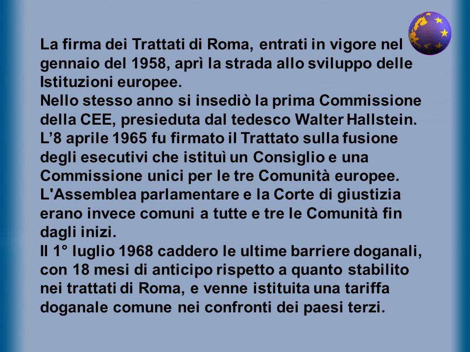 La firma dei Trattati di Roma, entrati in vigore nel gennaio del 1958, aprì la strada allo sviluppo delle Istituzioni europee. Nello stesso anno si in