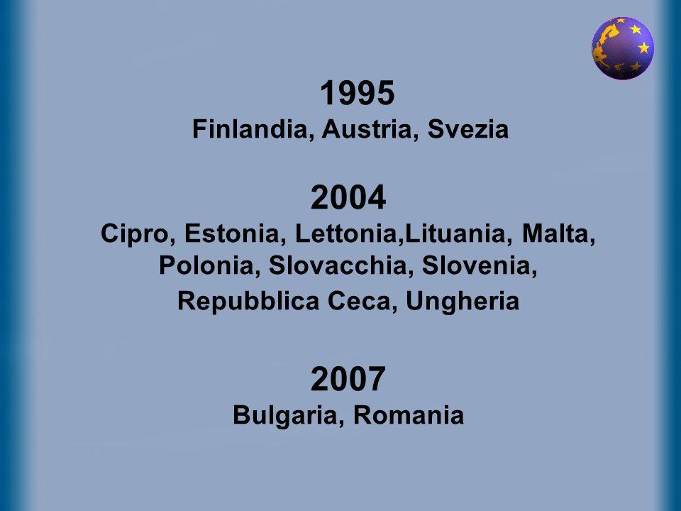 1995 Finlandia, Austria, Svezia 2004 Cipro, Estonia, Lettonia,Lituania, Malta, Polonia, Slovacchia, Slovenia, Repubblica Ceca, Ungheria 2007 Bulgaria,