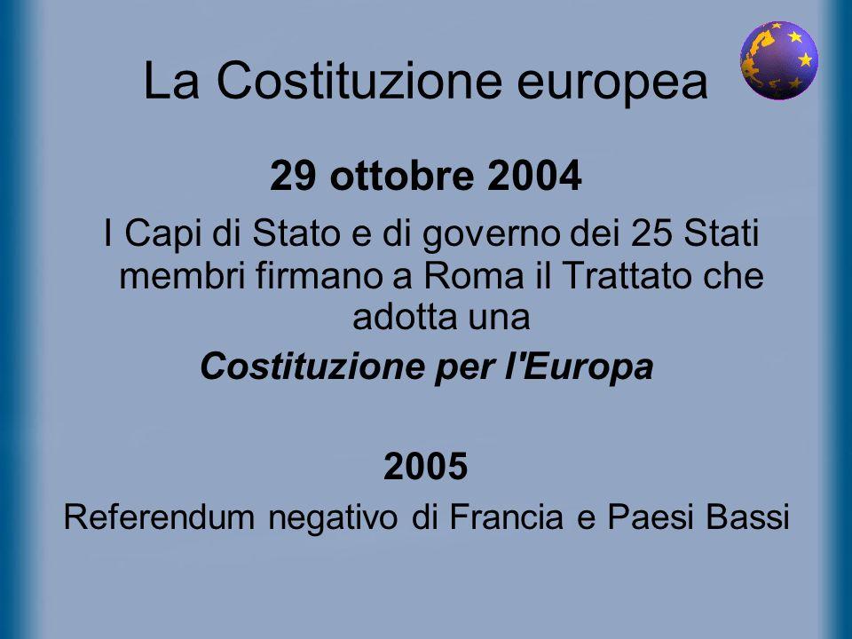 La Costituzione europea 29 ottobre 2004 I Capi di Stato e di governo dei 25 Stati membri firmano a Roma il Trattato che adotta una Costituzione per l'