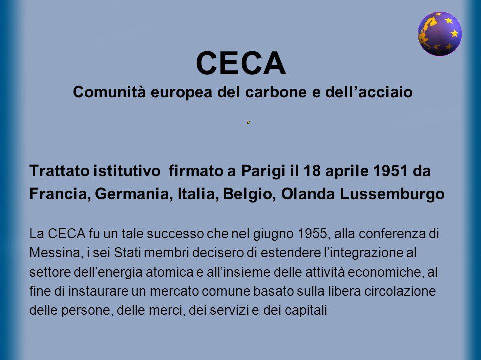 CECA Comunità europea del carbone e dellacciaio Trattato istitutivo firmato a Parigi il 18 aprile 1951 da Francia, Germania, Italia, Belgio, Olanda Lu