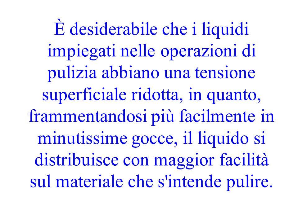 È desiderabile che i liquidi impiegati nelle operazioni di pulizia abbiano una tensione superficiale ridotta, in quanto, frammentandosi più facilmente