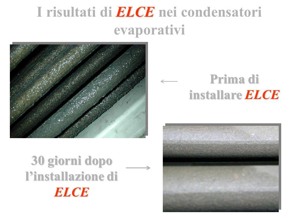 Prima di installare ELCE 30 giorni dopo linstallazione di ELCE ELCE I risultati di ELCE nei condensatori evaporativi