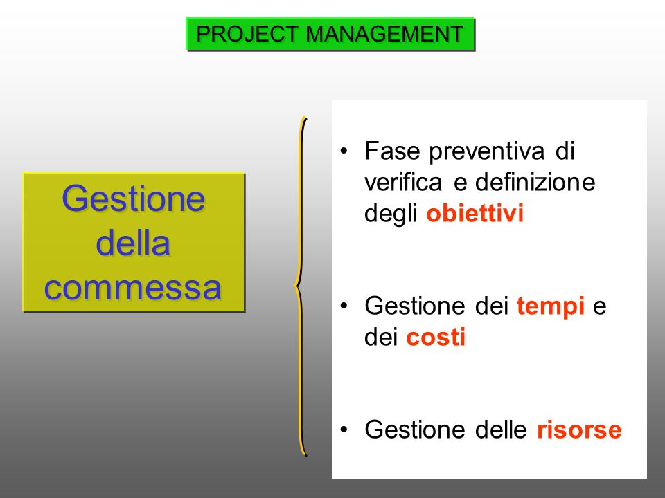 Gestione della commessa Fase preventiva di verifica e definizione degli obiettivi Gestione dei tempi e dei costi Gestione delle risorse PROJECT MANAGE