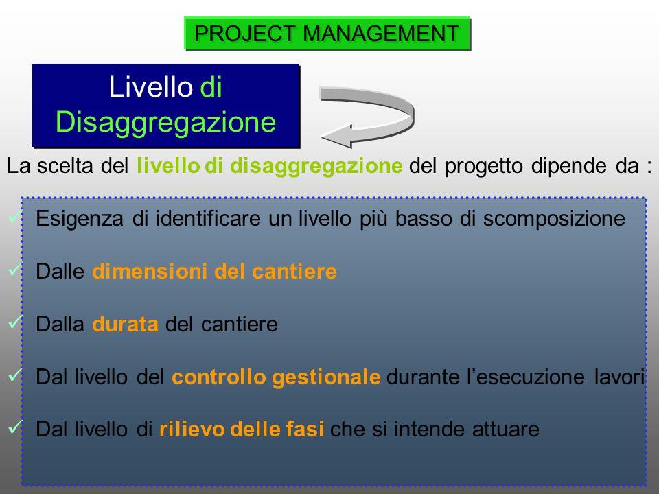 La scelta del livello di disaggregazione del progetto dipende da : Esigenza di identificare un livello più basso di scomposizione Dalle dimensioni del