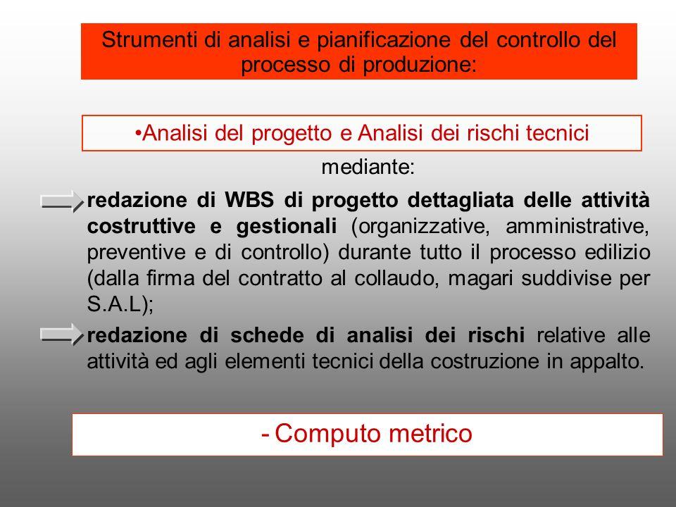 mediante: redazione di WBS di progetto dettagliata delle attività costruttive e gestionali (organizzative, amministrative, preventive e di controllo)