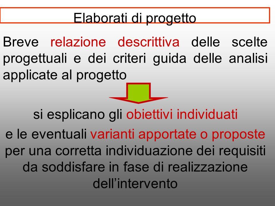 Elaborati di progetto Breve relazione descrittiva delle scelte progettuali e dei criteri guida delle analisi applicate al progetto si esplicano gli ob