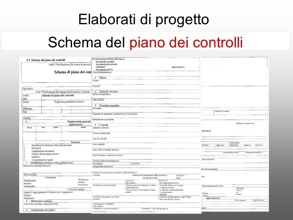 Elaborati di progetto Schema del piano dei controlli