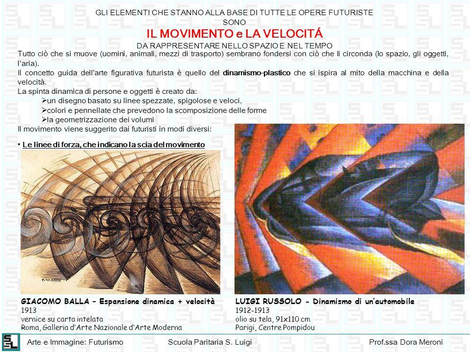 Arte e Immagine: FuturismoScuola Paritaria S. LuigiProf.ssa Dora Meroni GLI ELEMENTI CHE STANNO ALLA BASE DI TUTTE LE OPERE FUTURISTE SONO IL MOVIMENT