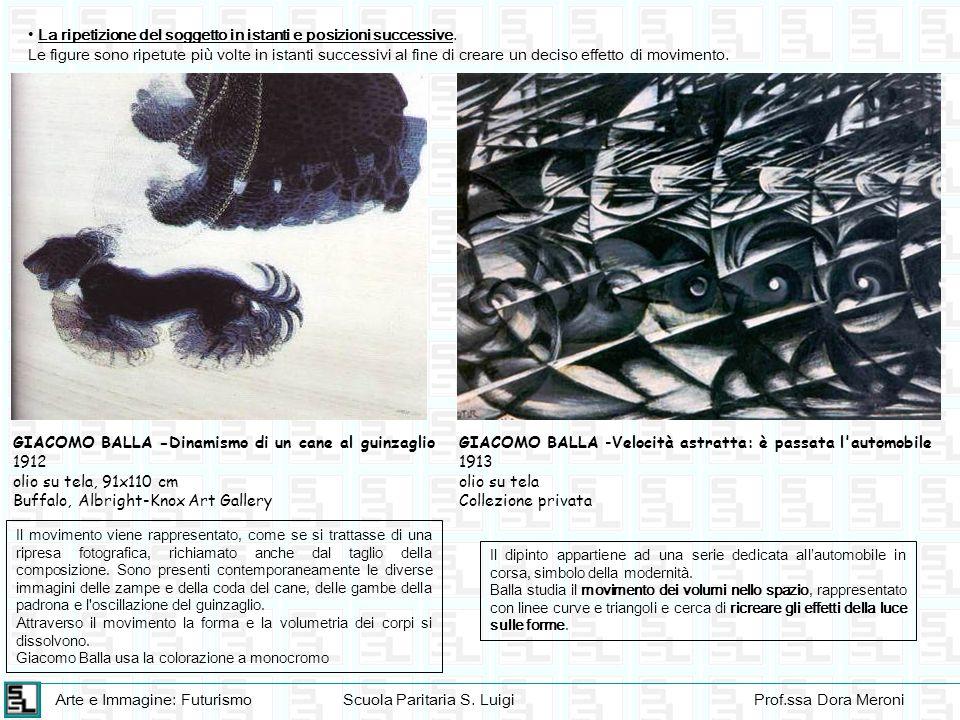 Arte e Immagine: FuturismoScuola Paritaria S. LuigiProf.ssa Dora Meroni La ripetizione del soggetto in istanti e posizioni successive. Le figure sono