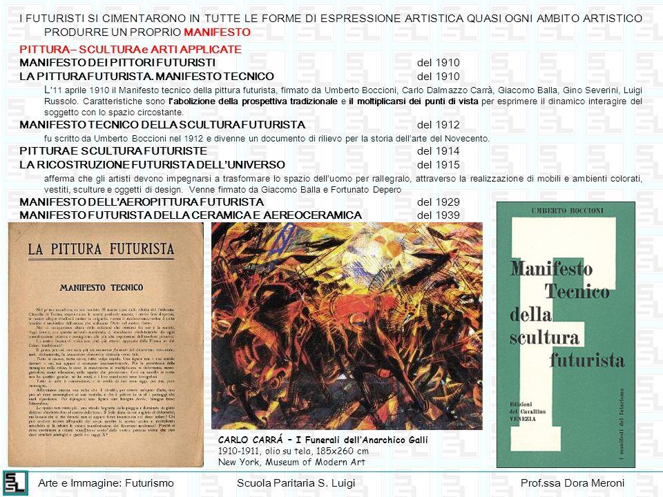 Arte e Immagine: FuturismoScuola Paritaria S. LuigiProf.ssa Dora Meroni I FUTURISTI SI CIMENTARONO IN TUTTE LE FORME DI ESPRESSIONE ARTISTICA QUASI OG