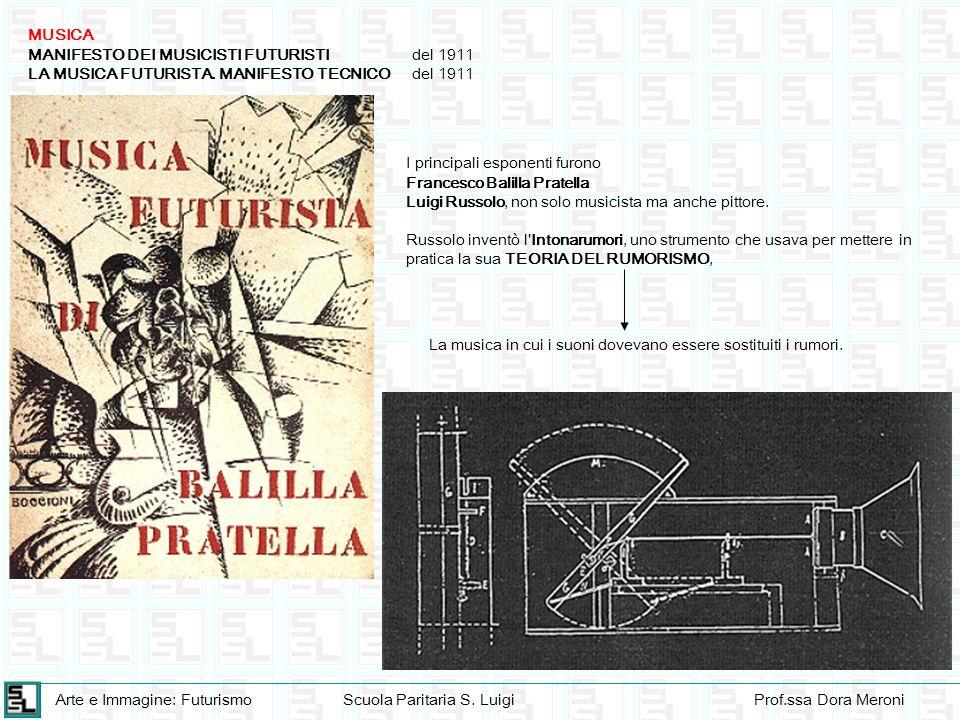 Arte e Immagine: FuturismoScuola Paritaria S. LuigiProf.ssa Dora Meroni MUSICA MANIFESTO DEI MUSICISTI FUTURISTIdel 1911 LA MUSICA FUTURISTA. MANIFEST