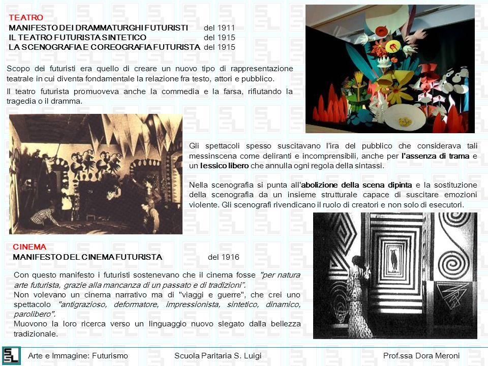 Arte e Immagine: FuturismoScuola Paritaria S. LuigiProf.ssa Dora Meroni TEATRO MANIFESTO DEI DRAMMATURGHI FUTURISTIdel 1911 IL TEATRO FUTURISTA SINTET