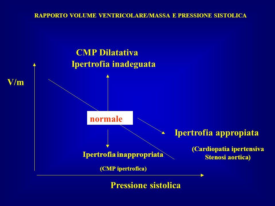 RAPPORTO VOLUME VENTRICOLARE/MASSA E PRESSIONE SISTOLICA Pressionesistolica V/m normale Ipertrofia inadeguata CMPDilatativa Ipertrofiaappropiata (Card