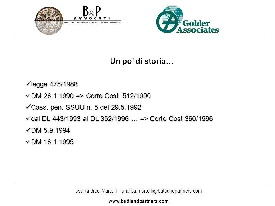 avv. Andrea Martelli – andrea.martelli@buttiandpartners.com www.buttiandpartners.com Un po di storia… legge 475/1988 legge 475/1988 DM 26.1.1990 => Co