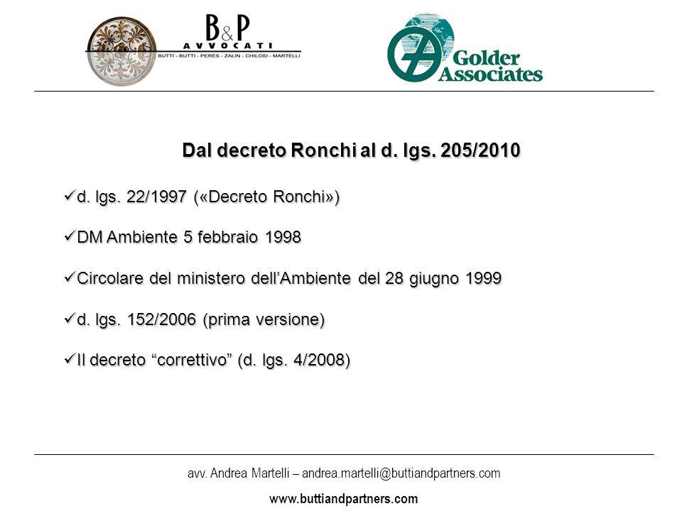 avv. Andrea Martelli – andrea.martelli@buttiandpartners.com www.buttiandpartners.com Dal decreto Ronchi al d. lgs. 205/2010 d. lgs. 22/1997 («Decreto