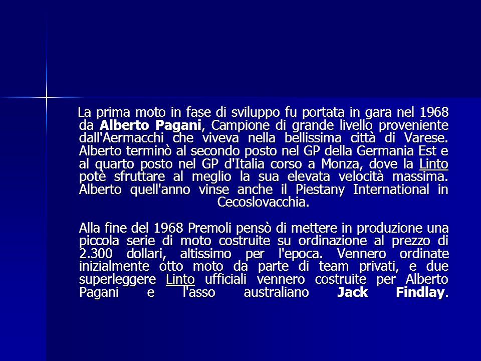 Per il progetto fu chiamato Lino Tonti, ex progettista Ducati, ed il nome dato alla moto - Linto - nacque dal suo nome. Il motore era un bicilindrico