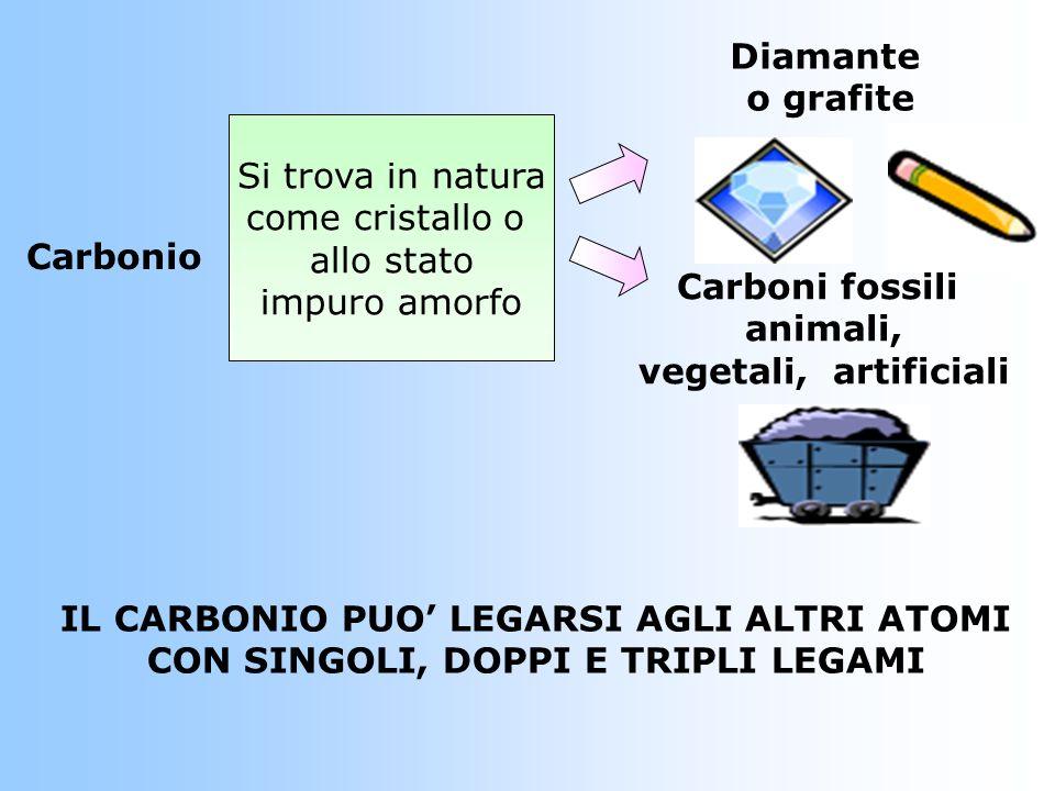 Carbonio Si trova in natura come cristallo o allo stato impuro amorfo Diamante o grafite Carboni fossili animali, vegetali, artificiali IL CARBONIO PU