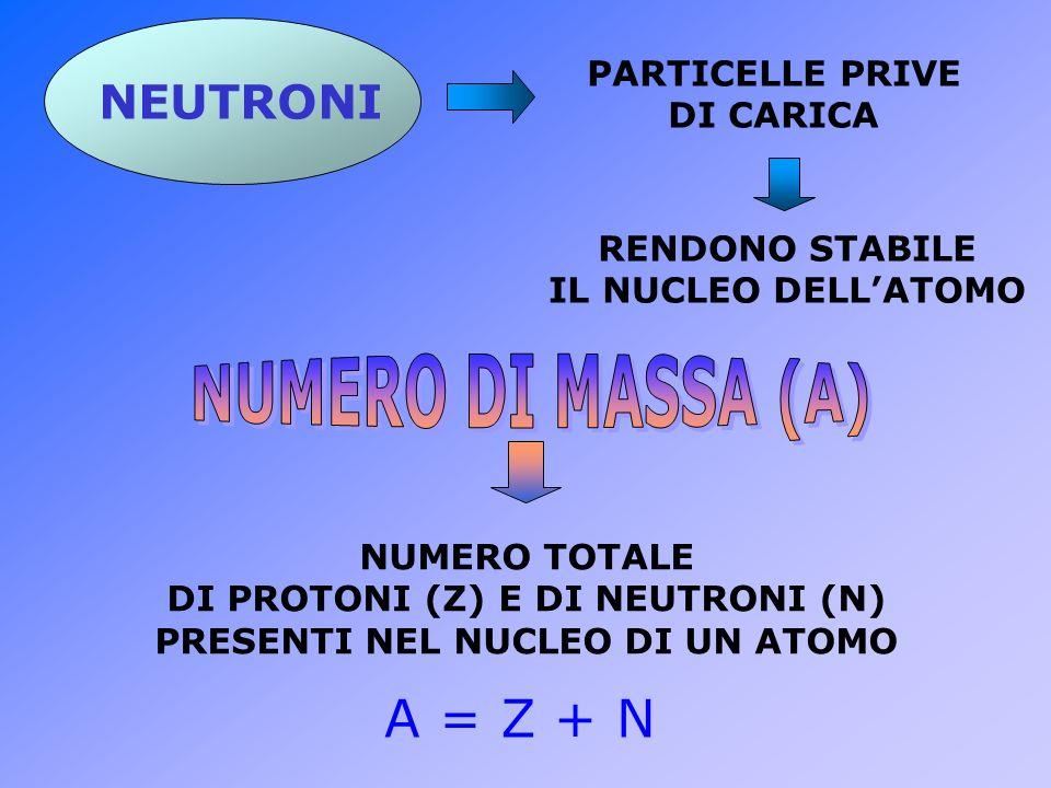 NEUTRONI PARTICELLE PRIVE DI CARICA RENDONO STABILE IL NUCLEO DELLATOMO NUMERO TOTALE DI PROTONI (Z) E DI NEUTRONI (N) PRESENTI NEL NUCLEO DI UN ATOMO