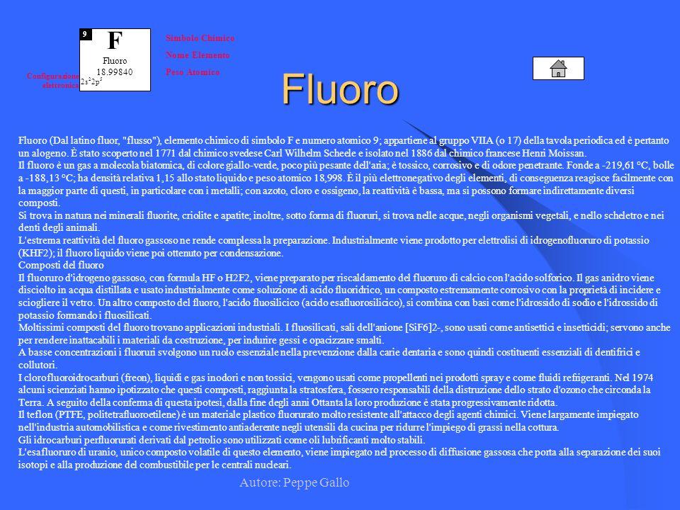 Autore: Peppe Gallo F Fluoro 18.99840 9 Simbolo Chimico Nome Elemento Peso Atomico Configurazione elettronica 2s 2 2p 5Fluoro Fluoro (Dal latino fluor