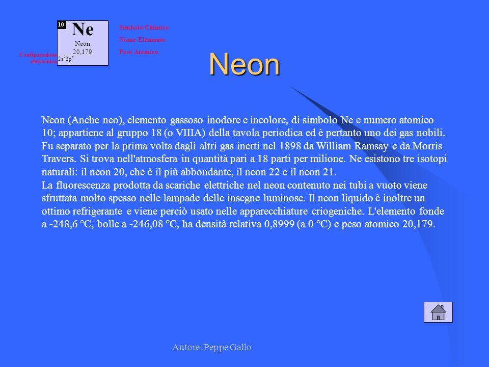 Autore: Peppe Gallo Ne Neon 20,179 10 Simbolo Chimico Nome Elemento Peso Atomico Configurazione elettronica 2s 2 2p 6Neon Neon (Anche neo), elemento g