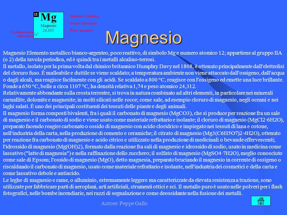 Autore: Peppe Gallo 12 Magnesio Magnesio Elemento metallico bianco-argenteo, poco reattivo, di simbolo Mg e numero atomico 12; appartiene al gruppo II