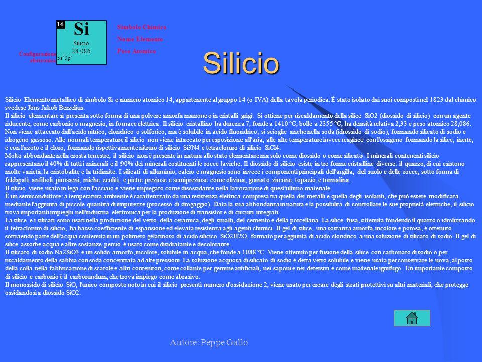 Autore: Peppe Gallo Si Silicio 28,086 14 Simbolo Chimico Nome Elemento Peso Atomico Configurazione elettronica 3s 2 3p 2Silicio Silicio Elemento metal