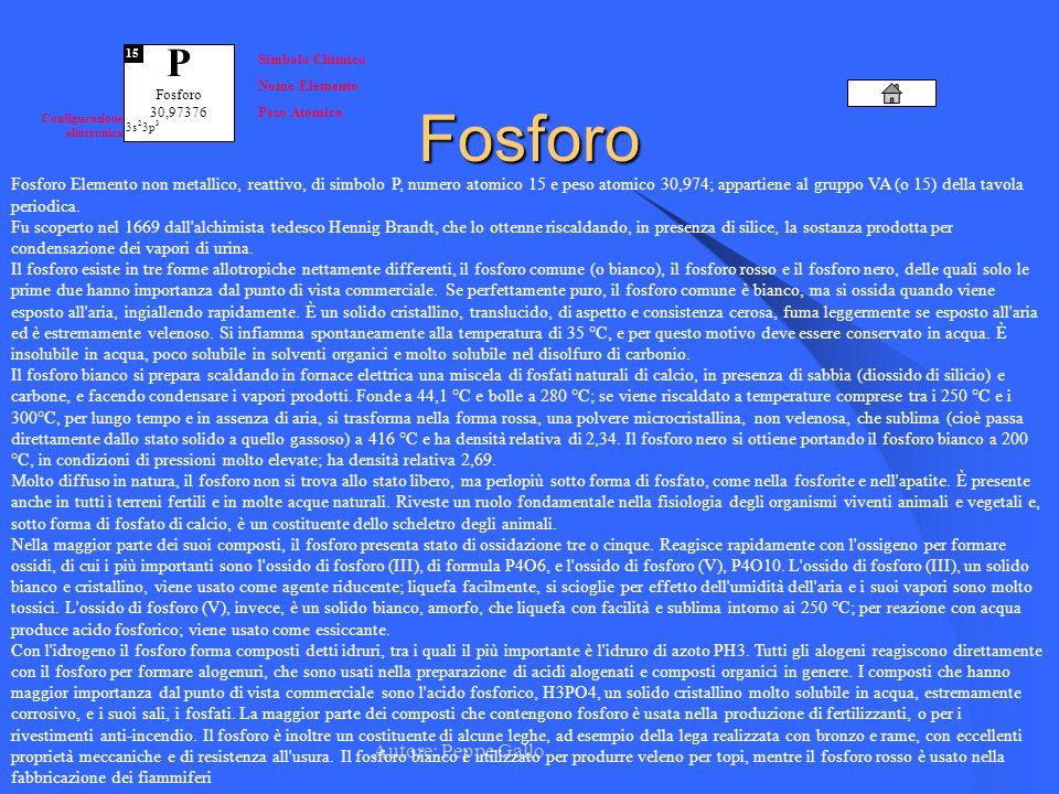 Autore: Peppe Gallo P Fosforo 30,97376 15 Simbolo Chimico Nome Elemento Peso Atomico Configurazione elettronica 3s 2 3p 3Fosforo Fosforo Elemento non