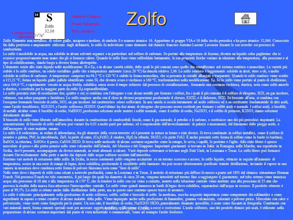 Autore: Peppe Gallo S Zolfo 32,06 16 Simbolo Chimico Nome Elemento Peso Atomico Configurazione elettronica 3s 2 3p 4Zolfo Zolfo Elemento non metallico