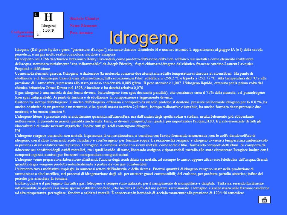 Idrogeno (Dal greco hydor e geno,