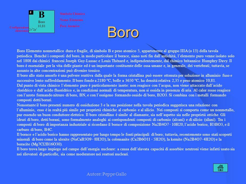 Autore: Peppe Gallo B Boro 10,81 5 Simbolo Chimico Nome Elemento Peso Atomico Configurazione elettronica 2s 2 2p 1Boro Boro Elemento nonmetallico duro