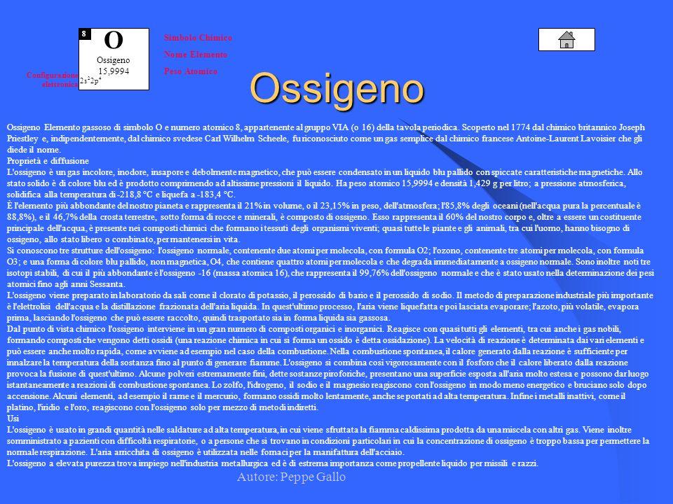 Autore: Peppe Gallo O Ossigeno 15,9994 8 Simbolo Chimico Nome Elemento Peso Atomico Configurazione elettronica 2s 2 2p 4Ossigeno Ossigeno Elemento gas