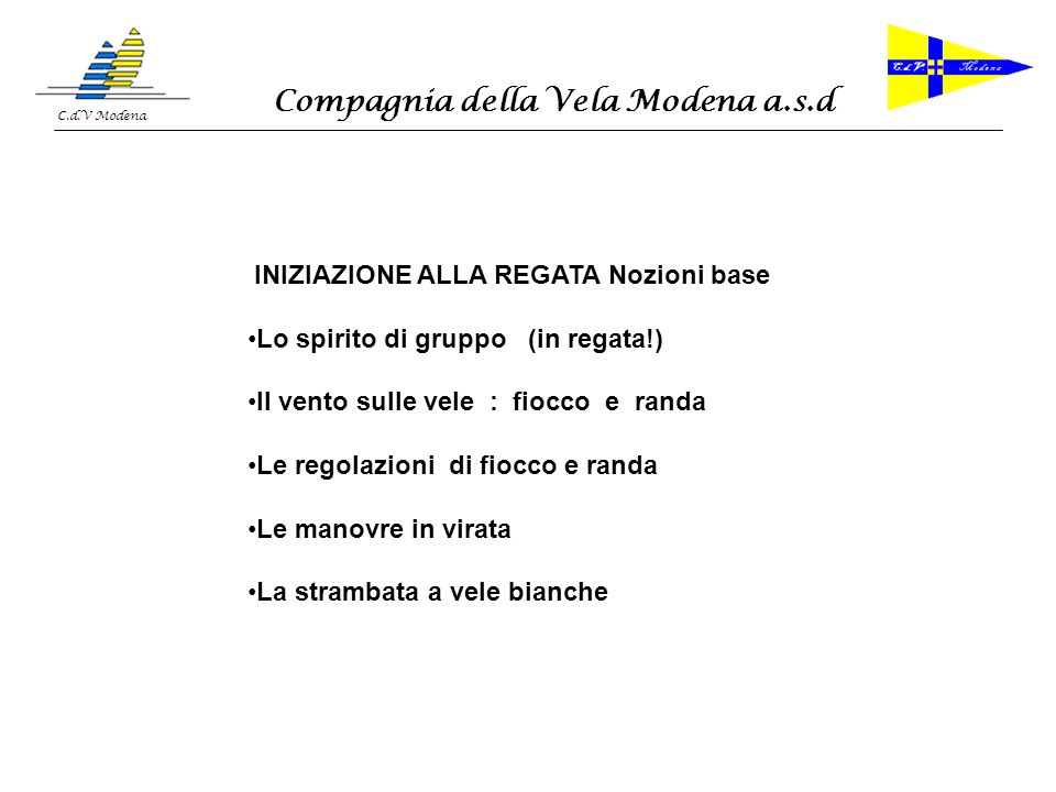 Compagnia della Vela Modena a.s.d C.d.V Modena 1 - IL GRUPPO = SQUADRA : tutti x 1 ………….