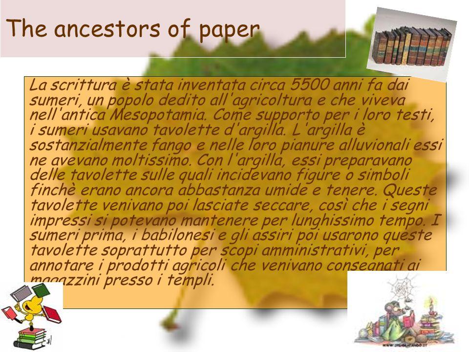 The ancestors of paper La scrittura è stata inventata circa 5500 anni fa dai sumeri, un popolo dedito all'agricoltura e che viveva nell'antica Mesopot
