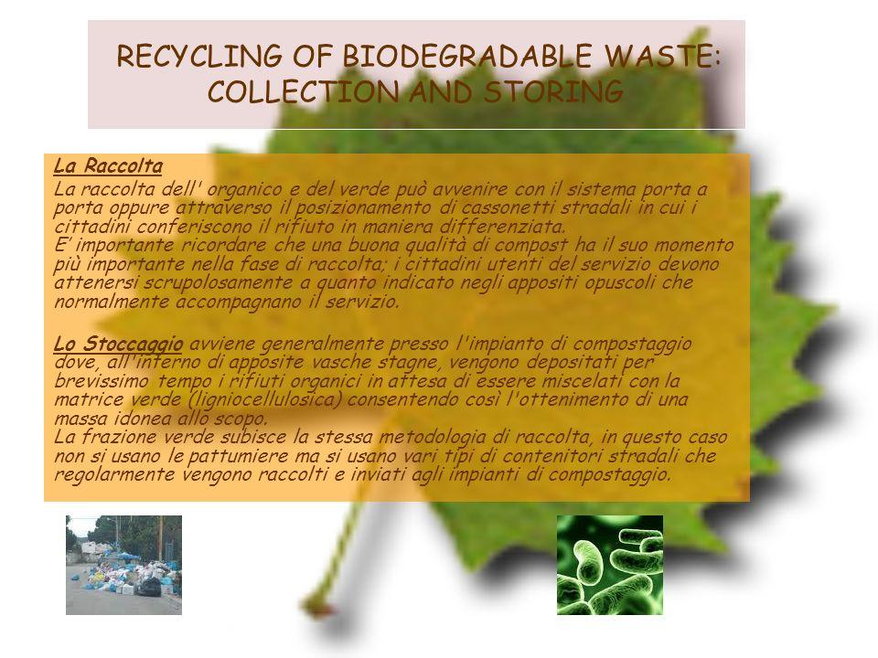 RECYCLING OF BIODEGRADABLE WASTE: COLLECTION AND STORING La Raccolta La raccolta dell' organico e del verde può avvenire con il sistema porta a porta