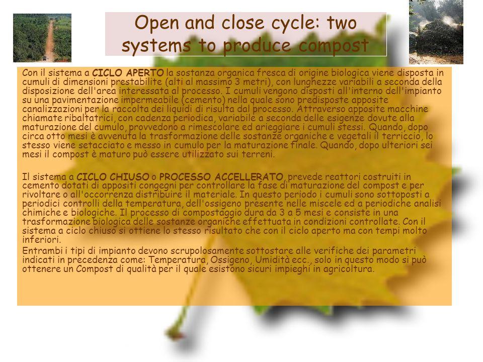 Open and close cycle: two systems to produce compost Con il sistema a CICLO APERTO la sostanza organica fresca di origine biologica viene disposta in
