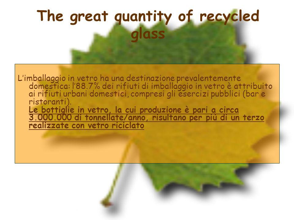 Limballaggio in vetro ha una destinazione prevalentemente domestica: l88.7% dei rifiuti di imballaggio in vetro è attribuito ai rifiuti urbani domesti